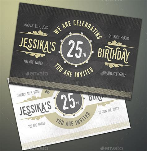 25th birthday card templates 22 birthday invitation templates free sle exle
