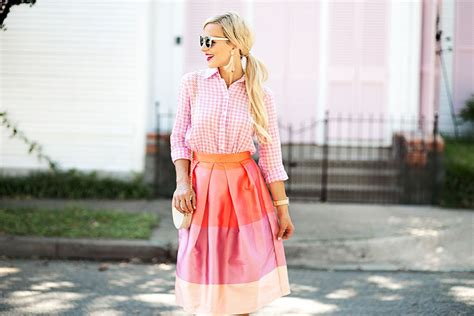 Color Block Midi Skirt pink and coral pleated color block striped midi skirt