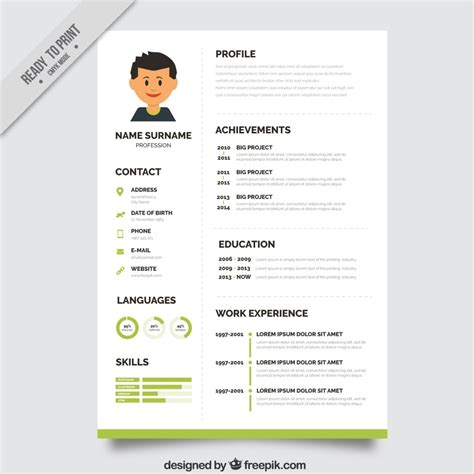 cv template free 10 top free resume templates freepik