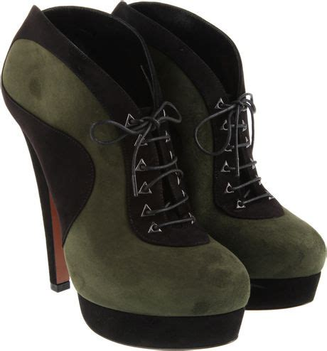 alaia boots ala 239 a cutout leather sandals in black green lyst