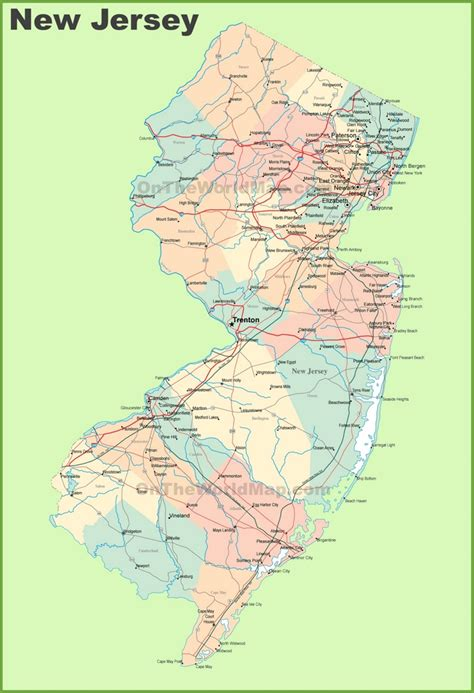 new jersey map images road map of new jersey with cities