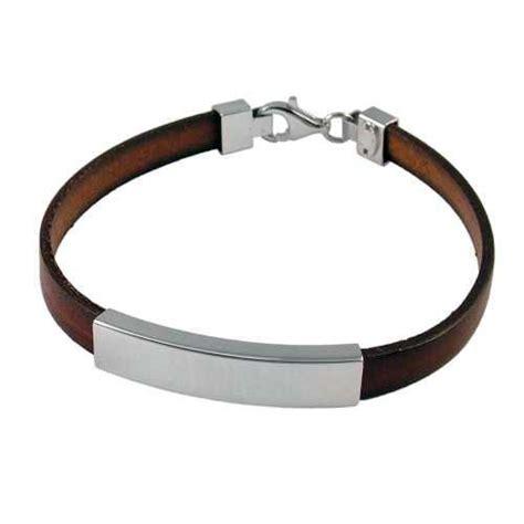 sterling silver mens boys brown leather id bracelet engraved