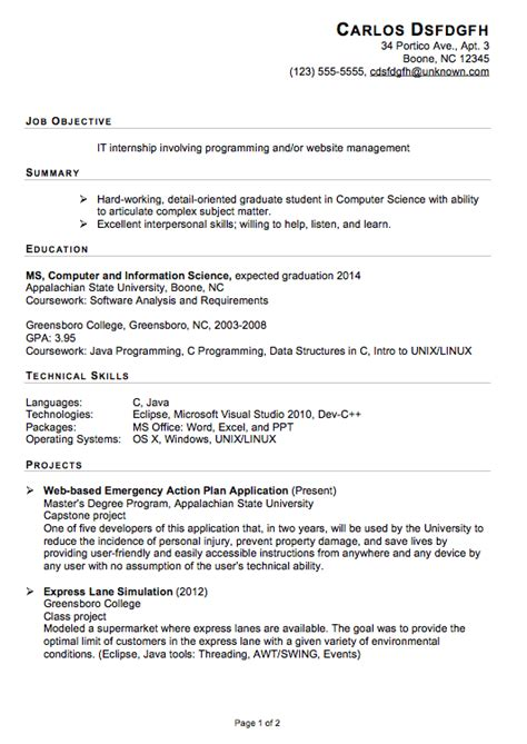 resume internship objective functional resume sle for an it internship susan