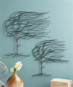 Wire Tree Wall Hanging Home Decor by Set Of 2 Whispering Willow Trees Molded Metal Wall Art