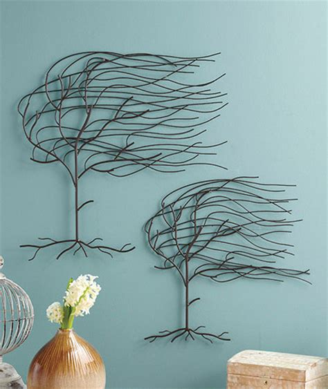 wire tree wall hanging home decor set of 2 whispering willow trees molded metal wall art