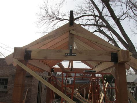 this beautiful yet rustic freestanding post and beam outdoor living space patio cover pergola cedar post