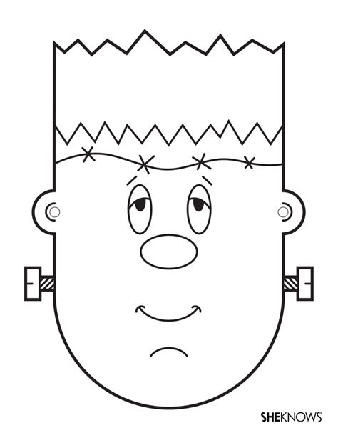 frankenstein mask free printable coloring pages