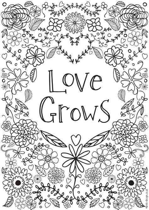 Printable Coloring Quote Pages For Adults | love grows colouring adult coloring free printable and