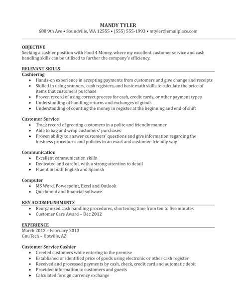 Resume Template Cashier   Sample Resume