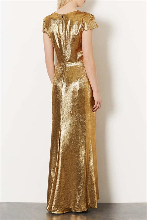 lyst topshop limited edition lurex maxi dress in metallic