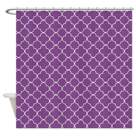 purple and white shower curtain plum purple white quatrefoil shower curtain by