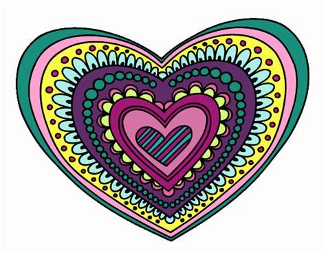 imagenes mandalas de corazones dibujo de amor en mil colores pintado por en dibujos net