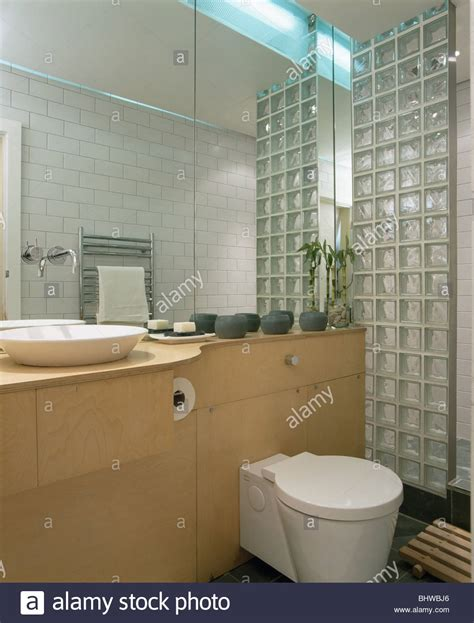 bathroom glass bricks glass brick wall in modern bathroom with mirrored wall