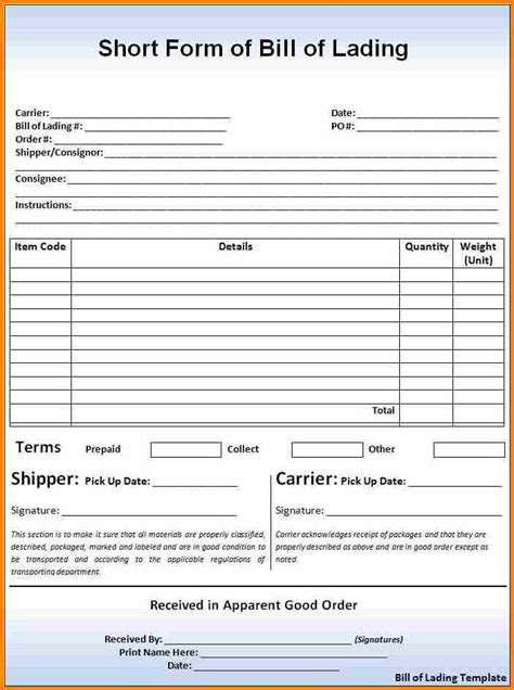 5 bill of lading short form template simple bill