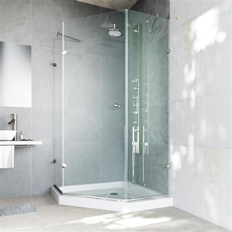 Neo Angle Frameless Shower Door Vigo Verona 36 125 In X 76 75 In Frameless Neo Angle Shower Door In Brushed Nickel With Clear