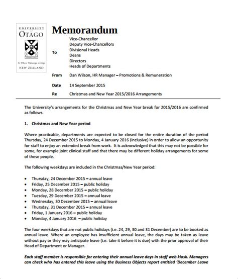 hr memo template sle memo 7 documents in pdf
