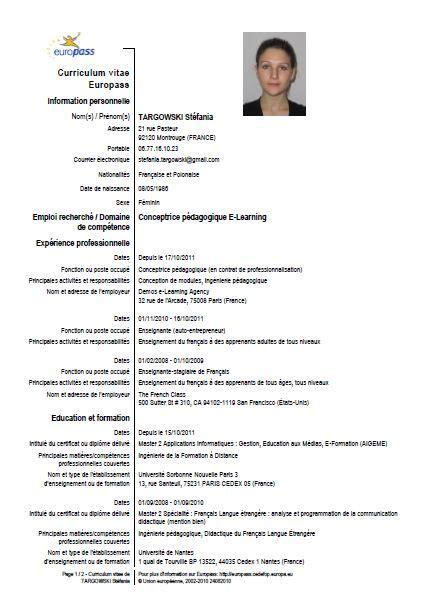 Modelo Curriculum Vitae Français Mon Cv Europass E Portfolio D Une Conceptrice P 233 Dagogique