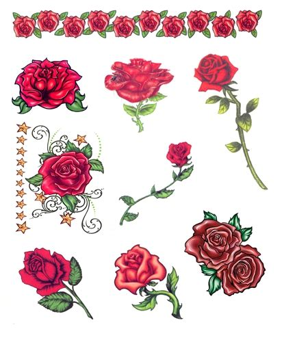 day of the dead red roses temporary tattoos set of 9