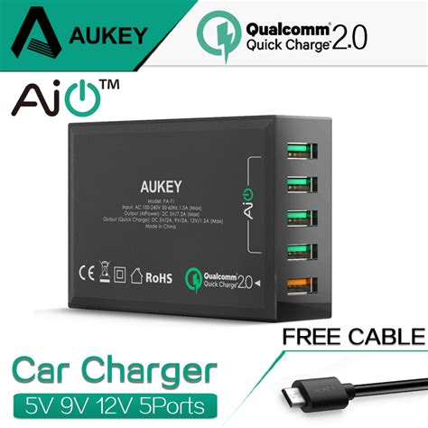 Aukey Charge 30 54w 4 Port Car Charger Cc T9 Qualcomm Certifie aukey 54w charge 2 0 5 ports usb desktop qc2 0 mobile charger station for huawei htc more