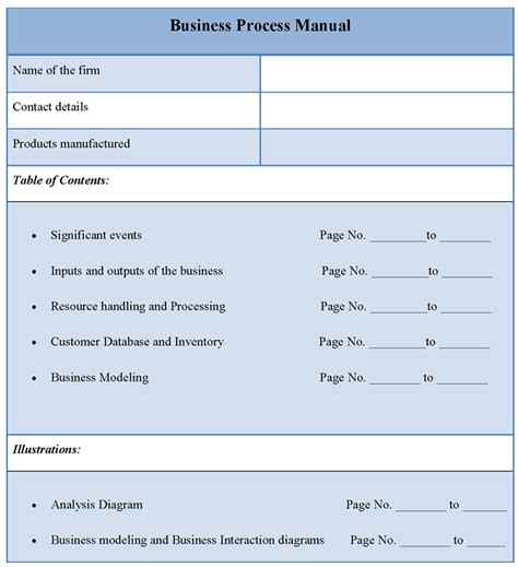 business process template manual template for business process format of business