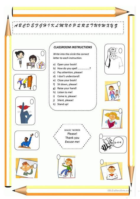printable instructions classroom 17 free esl classroom instructions worksheets