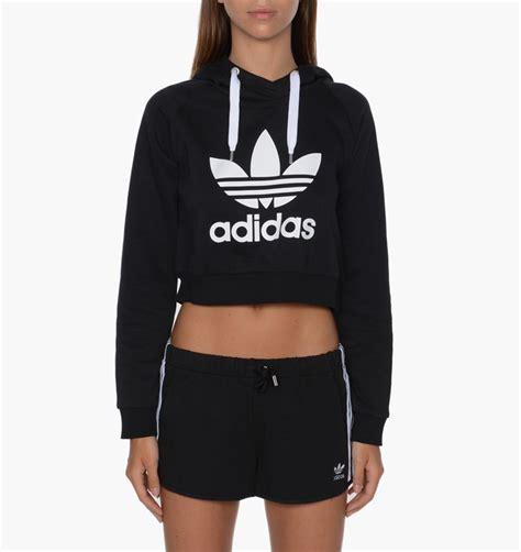 Jaket Crop Hodie Black adidas originals crop hoodie black pullover hoodies