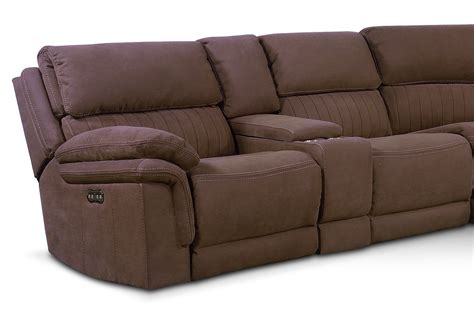 mocha reclining sectional monterey 6 piece power reclining sectional with 2