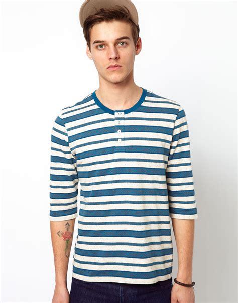 design t shirt on asos asos stripe three quarter sleeved grandad t shirt with
