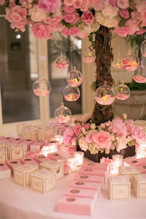 Favors Gifts Photos Pink White Favor Table Inside