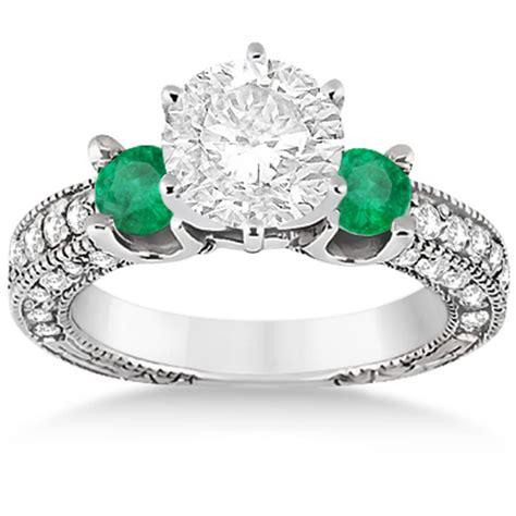 three emerald engagement ring palladium 0 94ct