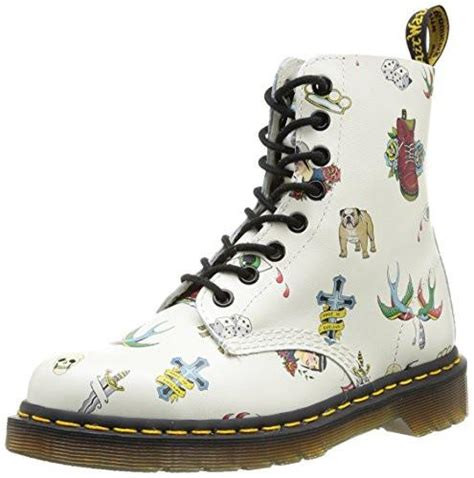 dr tattoo off dr martens pascal white skins leather boots
