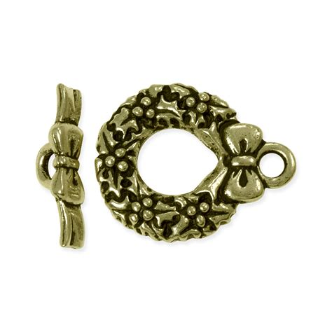toggle clasps for jewelry toggle clasp wreath 20x12mm pewter antique brass plated