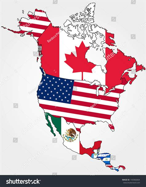 north america map with flags highly detailed north america map country stock vector