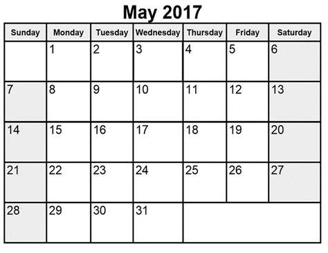 Printable May 2017 Calendar With Holidays