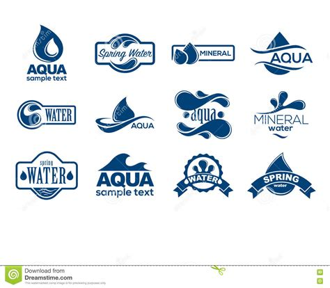 water label design vector blue logos set label for mineral water aqua icons