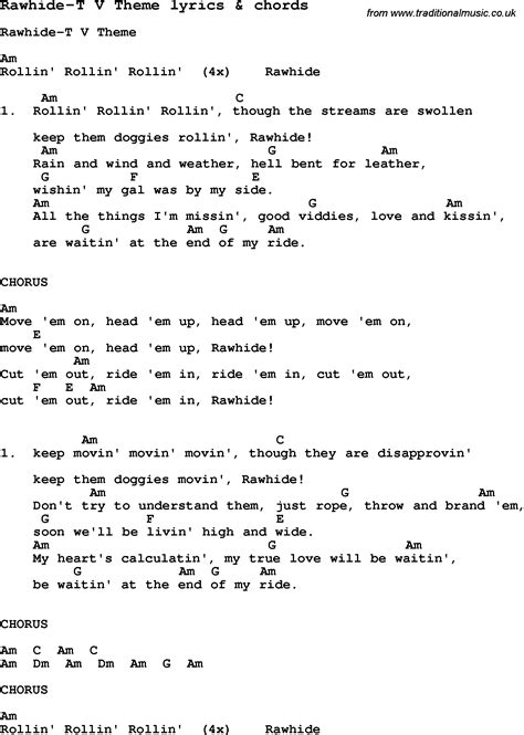 Theme Music Rawhide | love song lyrics for rawhide t v theme with chords