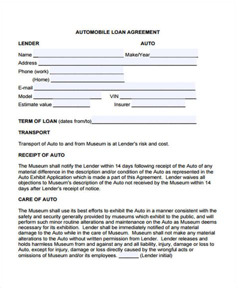 40 Printable Loan Agreement Forms Auto Loan Document Template
