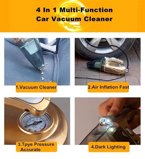 4 In 1 Car Vacuum Cleaner Portable High Power Tire Inflator Flashlight multi function portable car vacuum cleaner 12v 4 in 1 high power and aspirador pressure