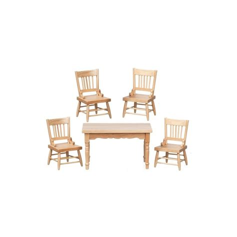 Dollhouse Dining Room Furniture Table Chairs Set 5 Oak Cb Dollhouse Dining Room Sets Superior Dollhouse Miniatures
