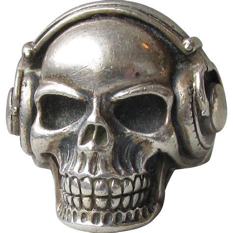 sterling silver skull vintage unisex sterling silver skull with headphones