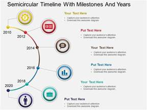 project milestone template ppt hb semicircular timeline with milestones and years
