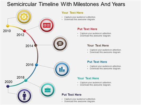 Hb Semicircular Timeline With Milestones And Years Powerpoint Template Powerpoint Slide Timeline Template Powerpoint