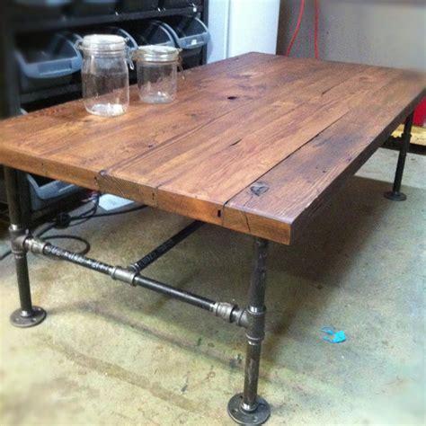 Barn wood steel pipe rustic industrial coffee table