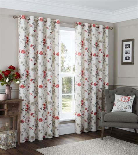 grey bird curtains bird floral vine red cream beige grey ring top curtains 8