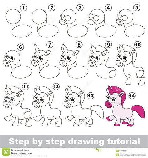 how to make doodle tutorial unicorn drawing tutorial stock vector image 69451009