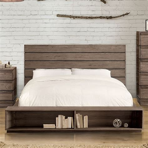 bookcase bed frame rustic natural tone finish cal king platform bed frame w bookcase footboard
