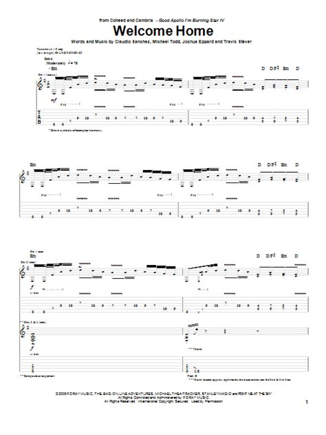 welcome home by coheed and cambria guitar tab guitar