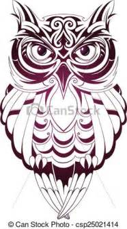 vector clip art of owl tattoo vector illustration with