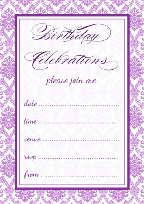 printable purple damask party invitations template