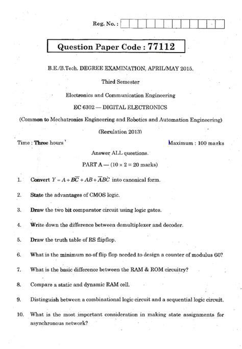 ec digital electronics april   question paper